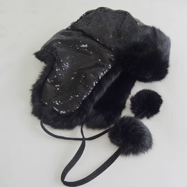 Plain Customized Animal Fur Hats , Plush Style Shearling Sheepskin Hat